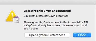 KeyCastr error